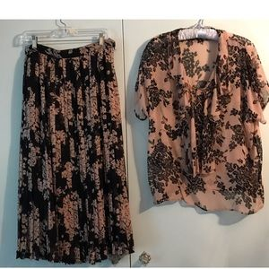 Vintage Reverse Ground Nude & Black Top & Skirt
